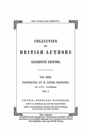 Cleopatra : being an account of the fall a. vengeance of Harmachis, the royal Egyptian, as set forth by his own hand : in 2 vol.